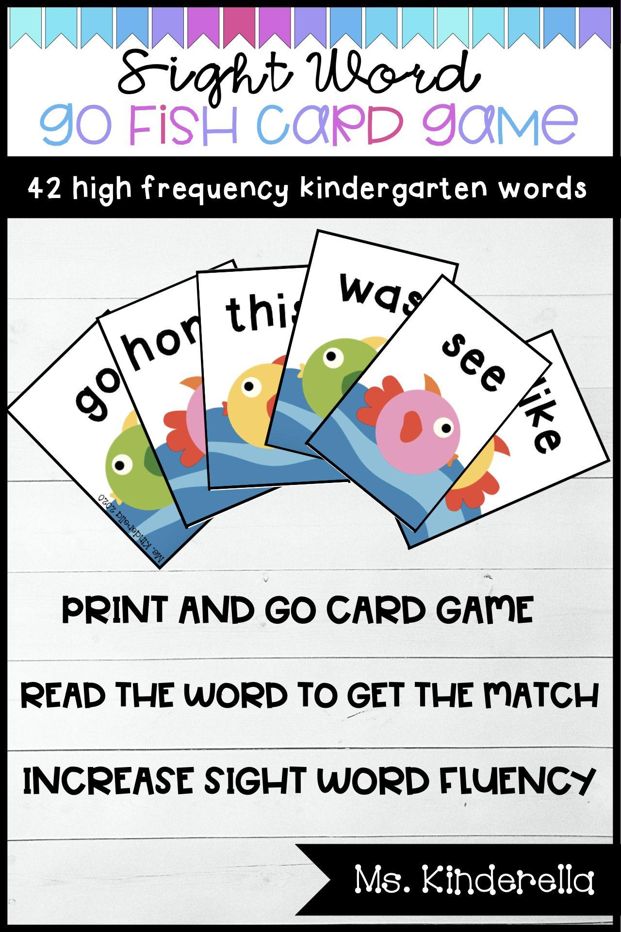 Sight Word Go Fish Partner Card Game Sight Words Sight Word Cards Learning Sight Words