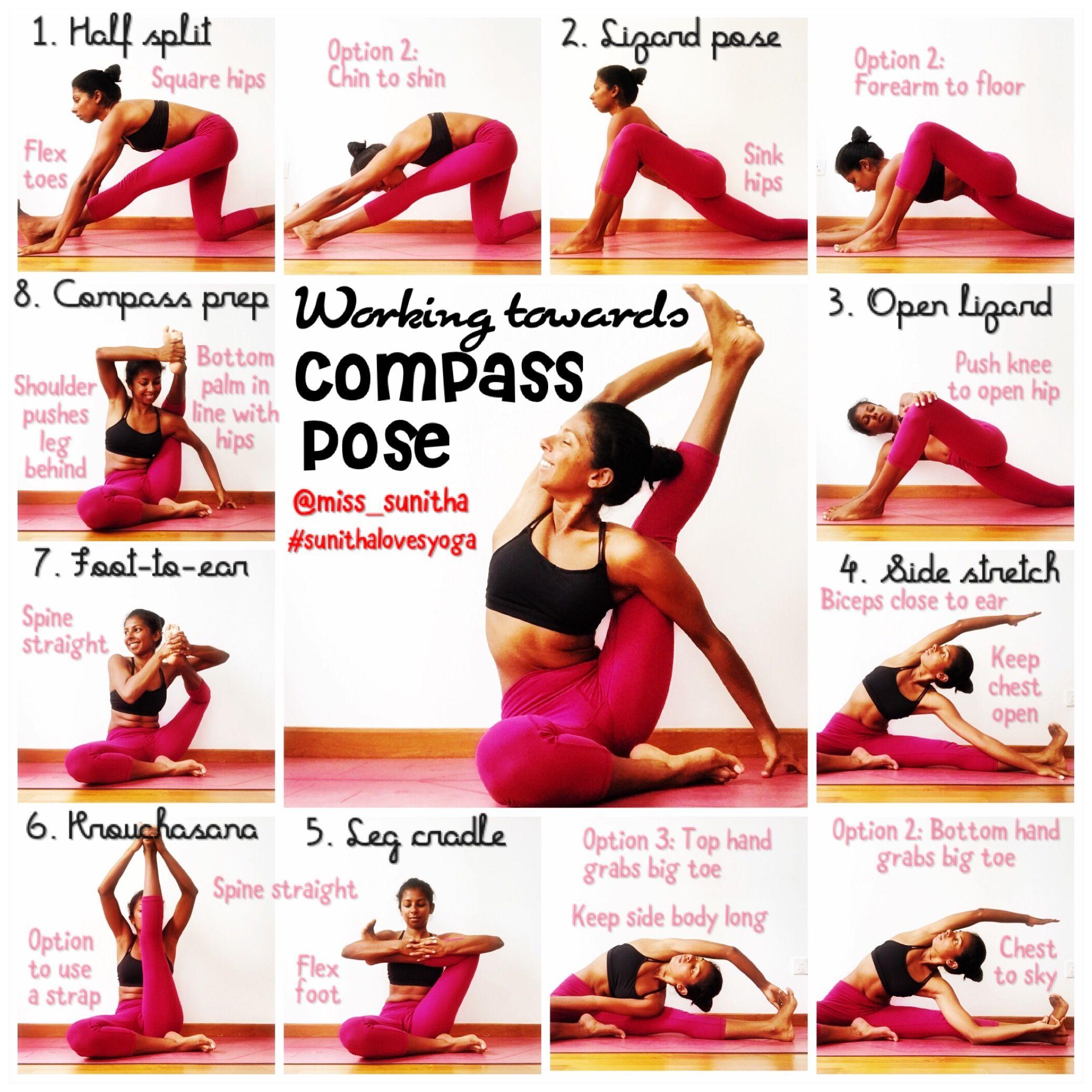 Yoga tutorial for compass pose - hip openers. @miss_sunitha