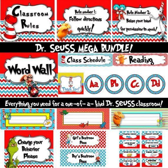 Dr. Seuss Classroom Decorations MEGA BUNDLE-Editable