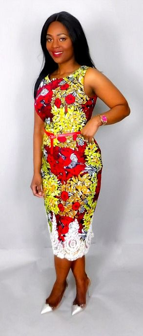 0b0b3c375def Red mix classic fitted dress .Very flattering slim fit Ankara African print  dress for that elegant look.Made from 100% authentic vlisco wax print.