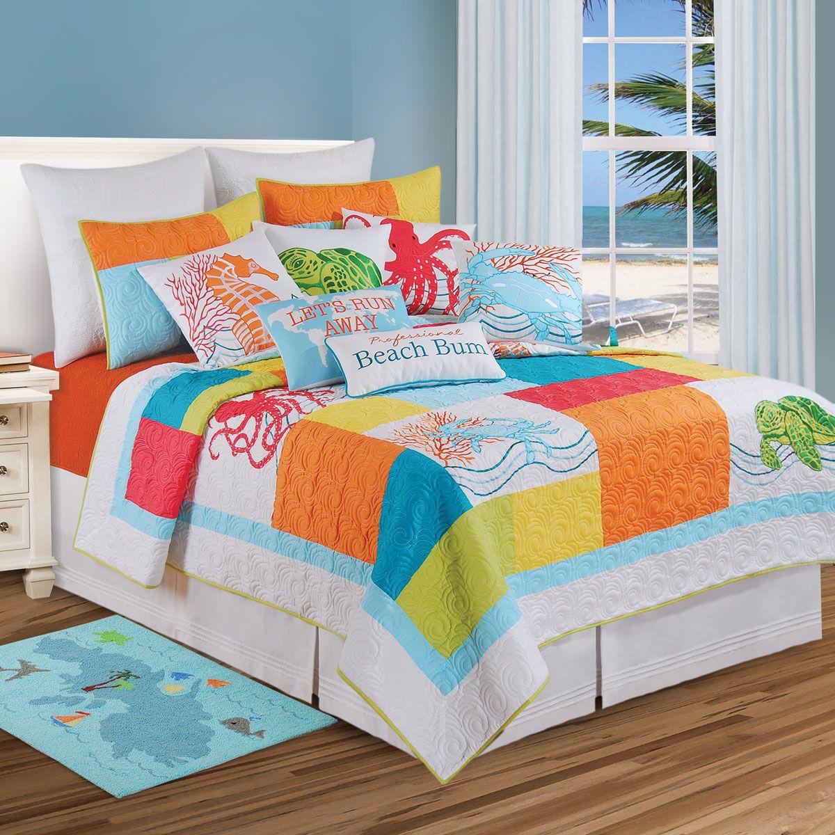 Caribbean Dreams Quilt Bedding Collection Bed Decor Coastal