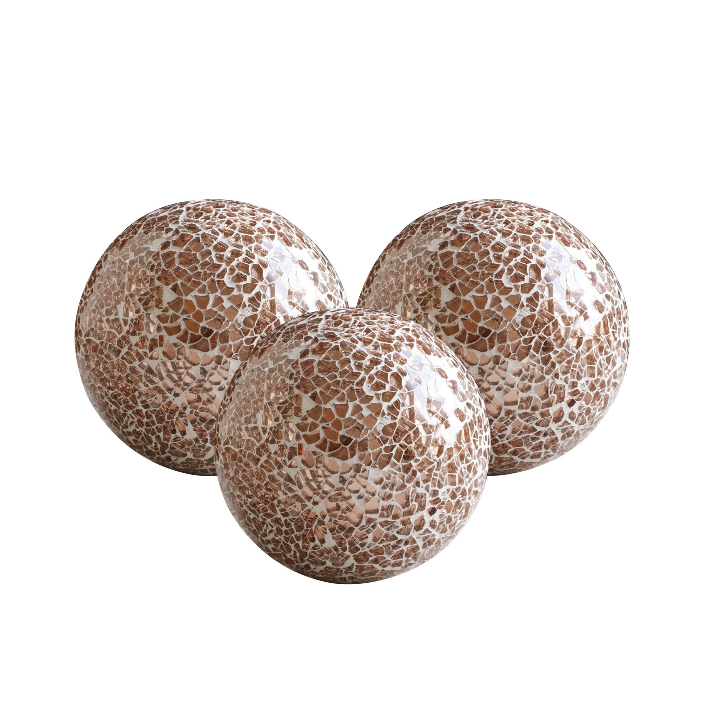 Decorative Orbs Set Of 3 Glass Mosaic Sphere Balls Diameter 4 Rose Gold For Bowls Vases And Table Centerpieces Walmart Com In 2020 Mosaic Glass Table Centerpieces Sphere Ball