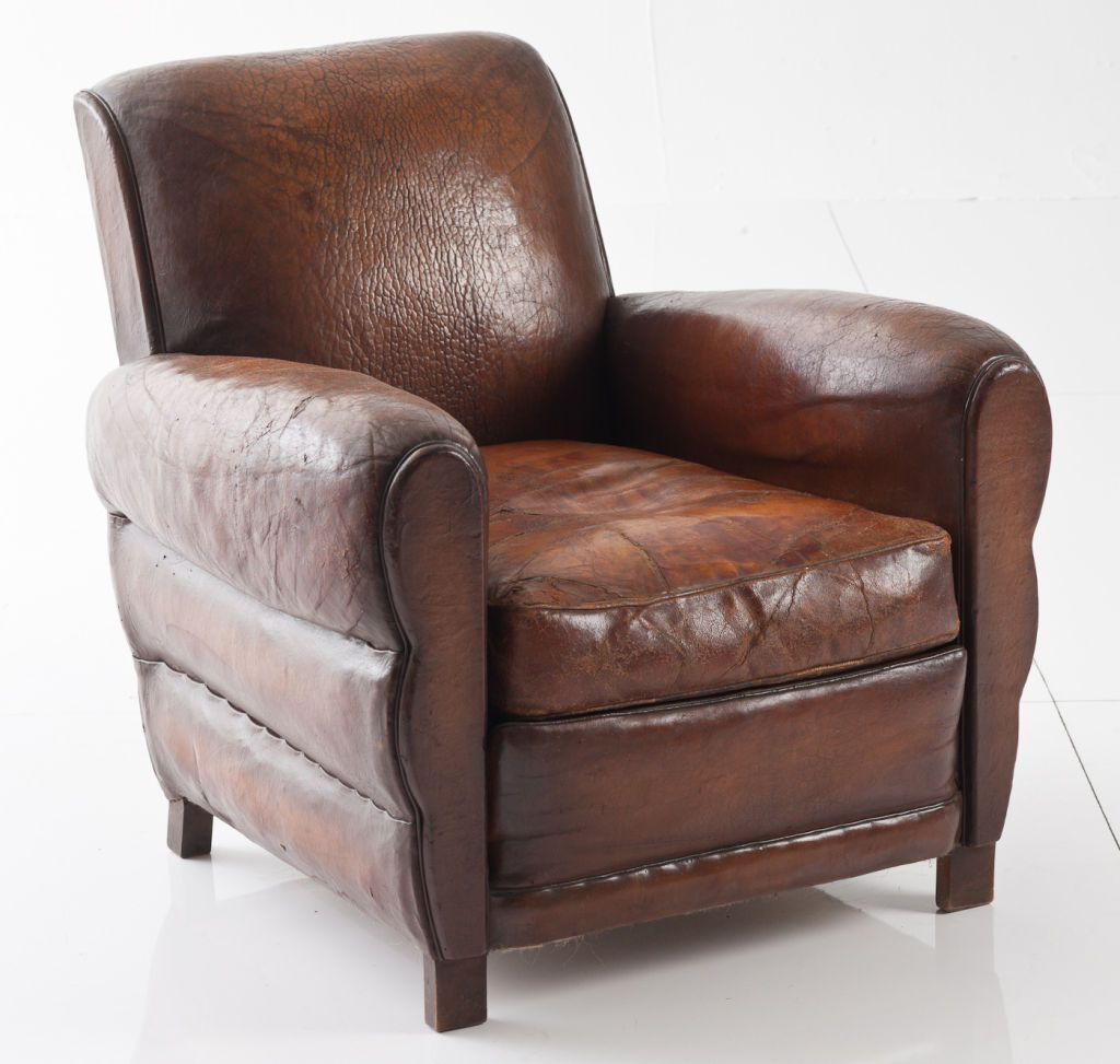 French Leather Club Chair Image 2