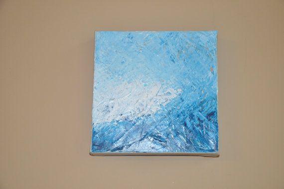 Acrylic Painting on Canvas  Blues 2  8x8 Original by dlynnart, $40.00