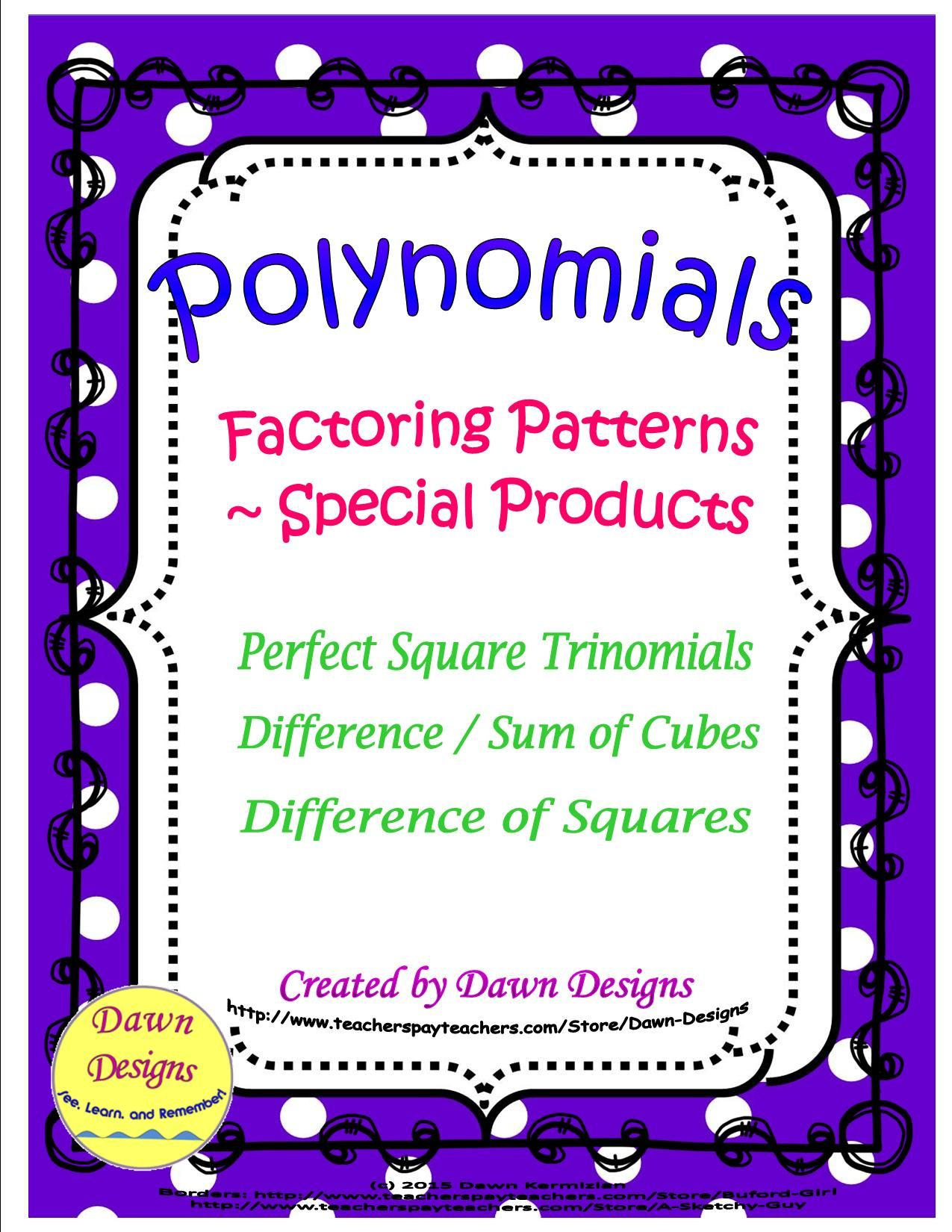 Polynomials Factoring Patterns