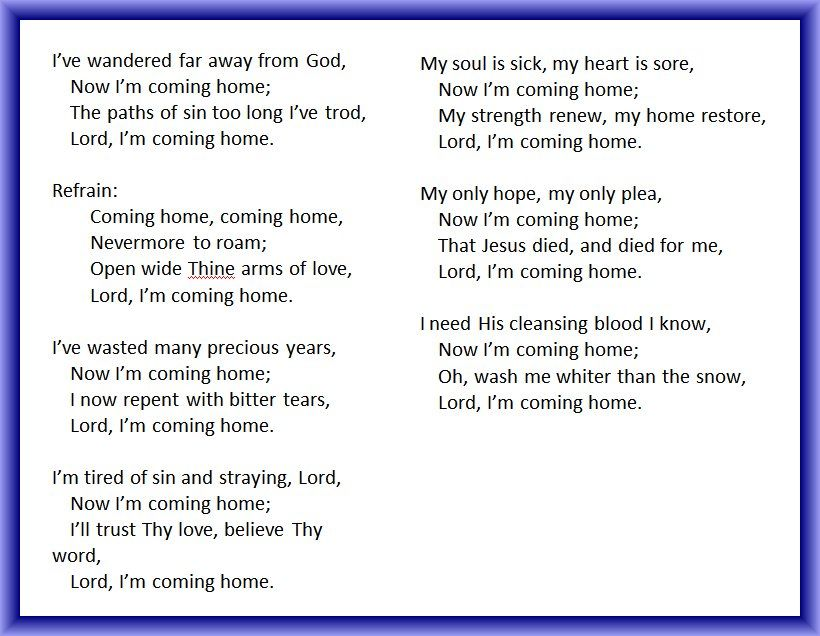 Lyric southern gospel music lyrics : i was young when i left home lyrics | Lord I'm Coming Home ...