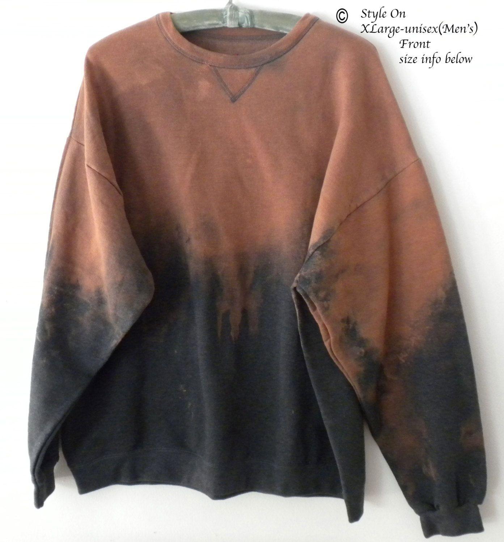 Gray Sweatshirt, Crewneck Sweatshirt, Boho, Hipster, dip dye, acid wash sweatshirt, Xlarge Sweatshirt, tie dye sweatshirt,graphic sweatshirt by Styleon on Etsy