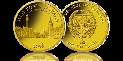 Stare Miasto W Warszawie Uwiecznione W Czystym Zlocie Gold Coins Gold Personalized Items