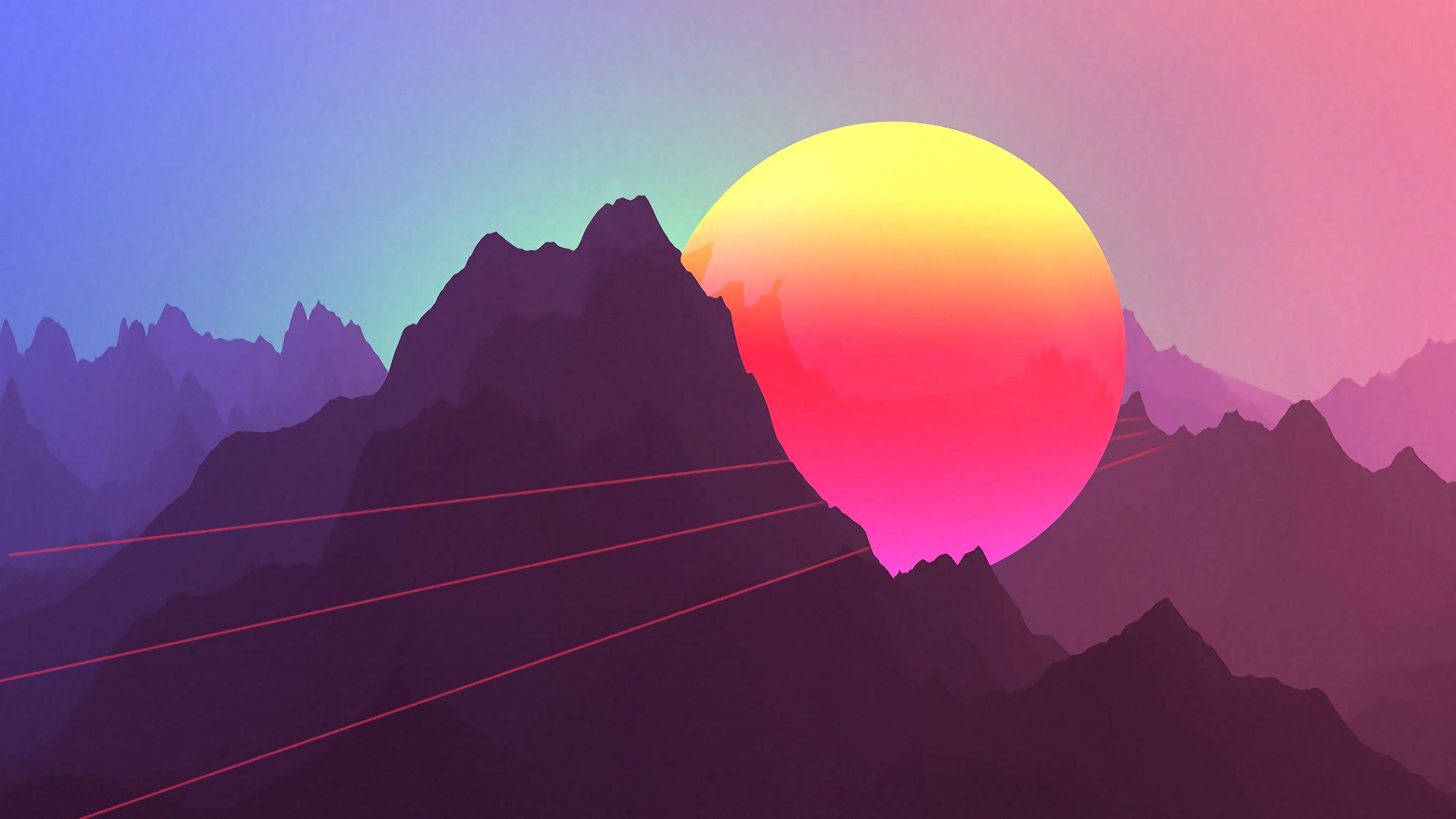 Mountain Under Moon Illustration Neon Sunset Mountains Retro