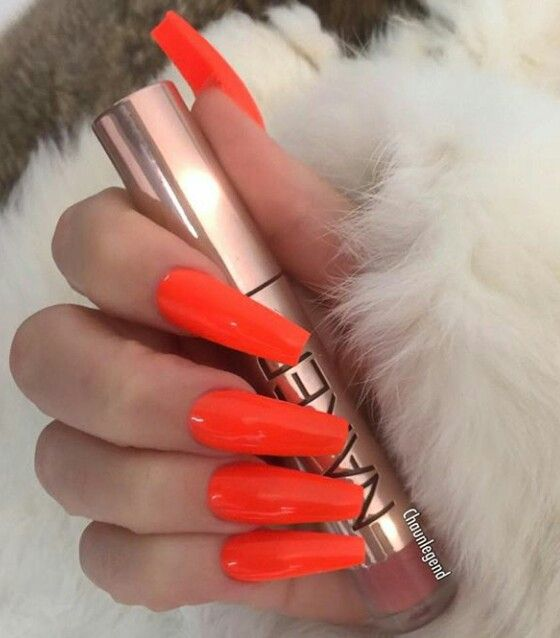 Bright Neon Red Nails With Images Bright Red Nails Red Orange