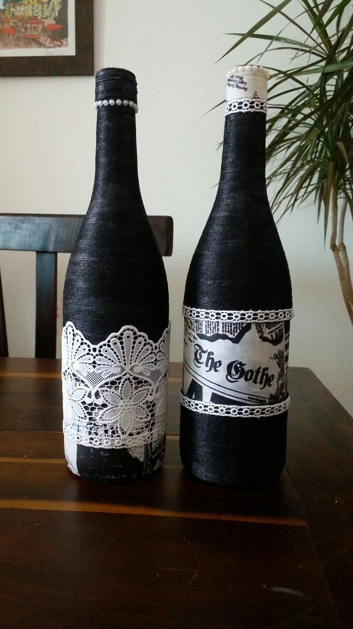 Garrafas Decoradas Com Fio, Renda E Tecido Beer Bottlewine