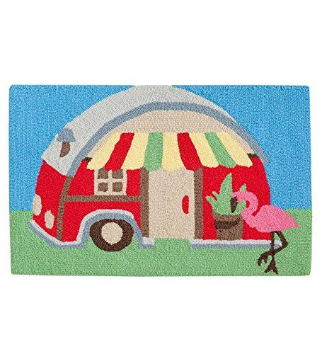 Machine Washable Hand-Hooked Happy Camper Accent Rug