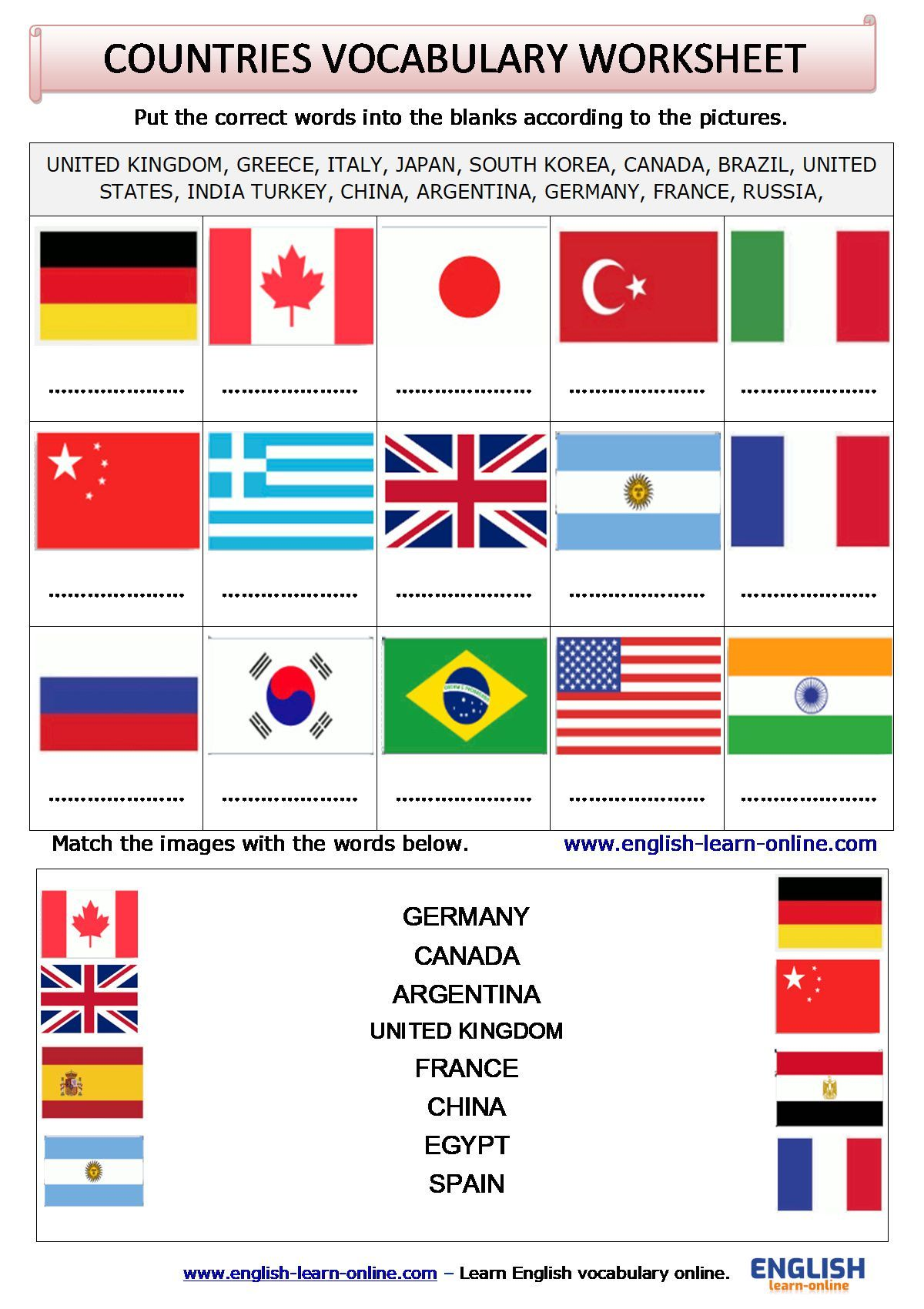 Countries Vocabulary Activity Worksheet In