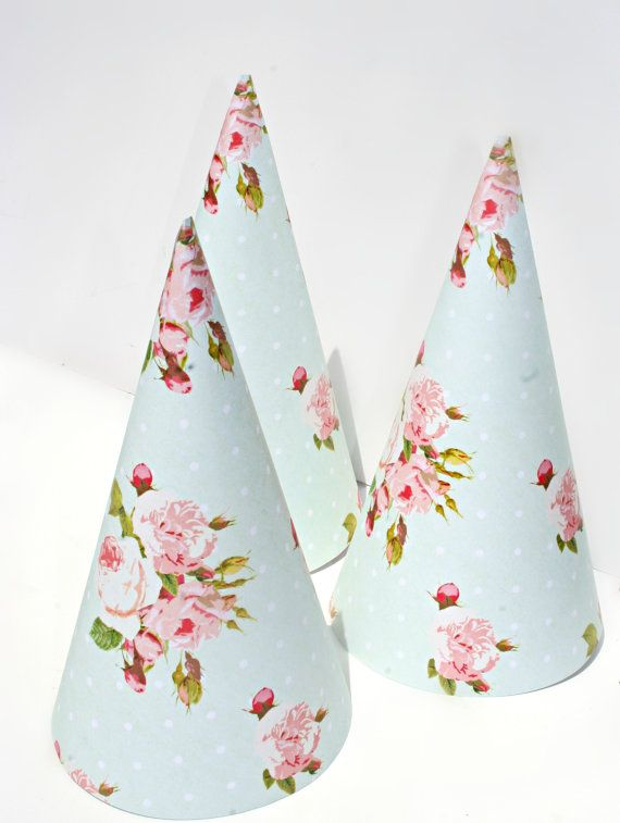 Shabby Chic ParTea Tea Party Birthday Party Hat SET8 by BoopteyLu, $30.00