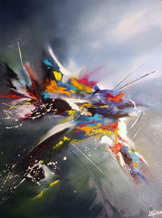 Tableau moderne abstrait l 39 oiseau peinture for Tableau contemporain