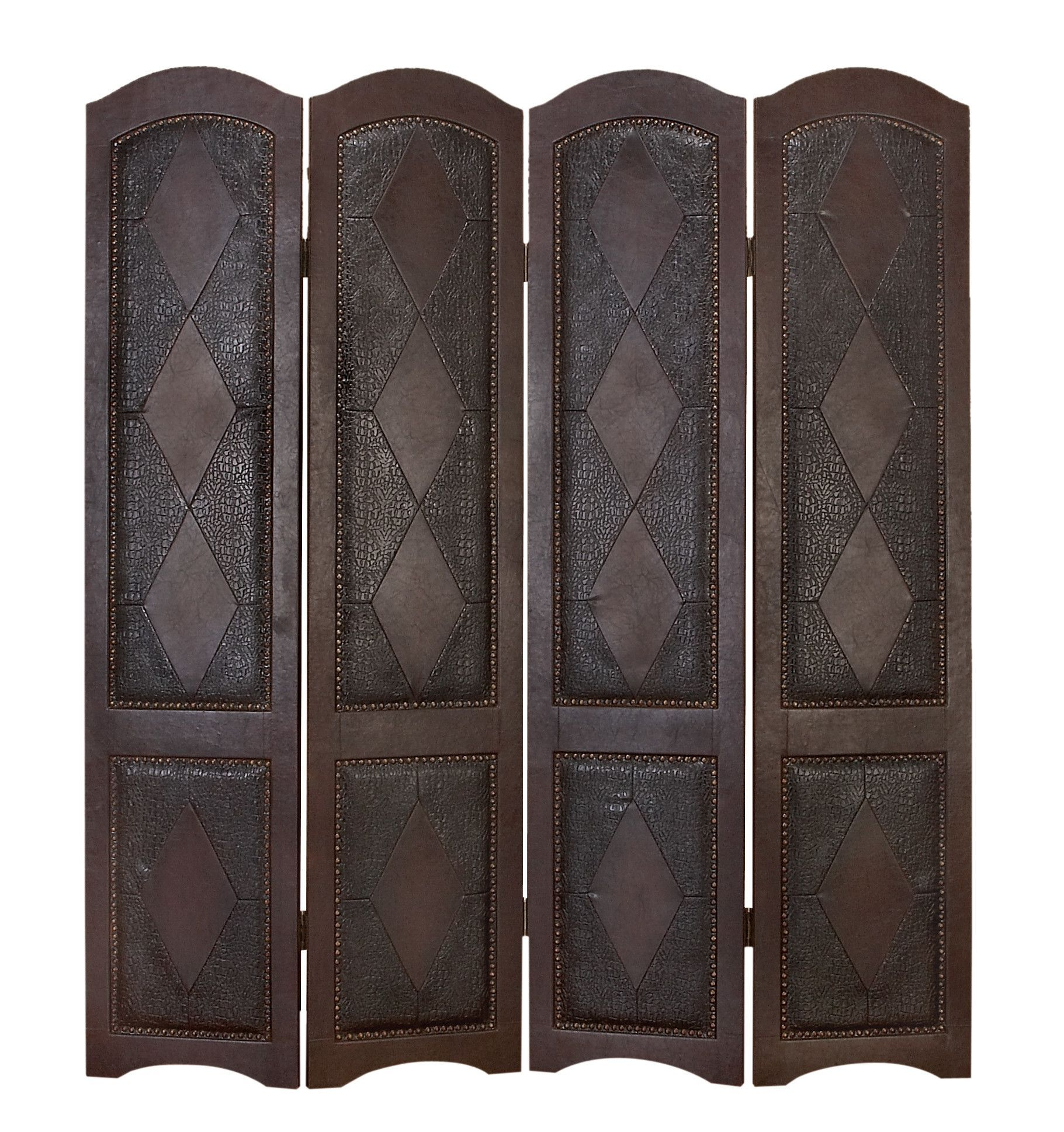 """71"""" x 64"""" Leather Privacy Screen 4 Panel Room Divider"""