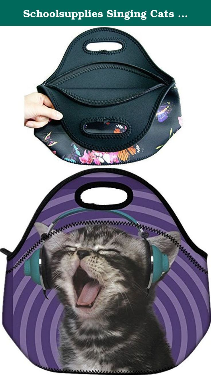 02f481d09b34 Schoolsupplies Singing Cats Insulated Neoprene Lunch Bag Tote H ...