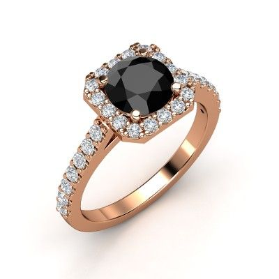 Adele Ring Round Black Diamond 14k Rose Gold Ring With Diamond Colored Diamond Engagement Rings Grey Diamond Engagement Ring 14k Rose Gold Engagement Rings