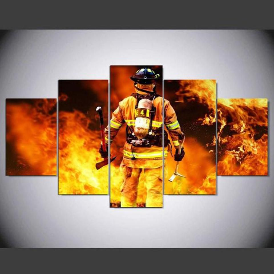 Firefighter Printed Canvas Painting Pluto99 Canvas Art Wall Decor Customized Canvas Art Wall Art Pictures