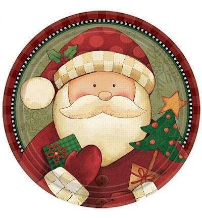 Santa Christmas Paper Plates  sc 1 st  Pinterest & Santa Christmas Paper Plates | A Christmas Menu | Pinterest ...