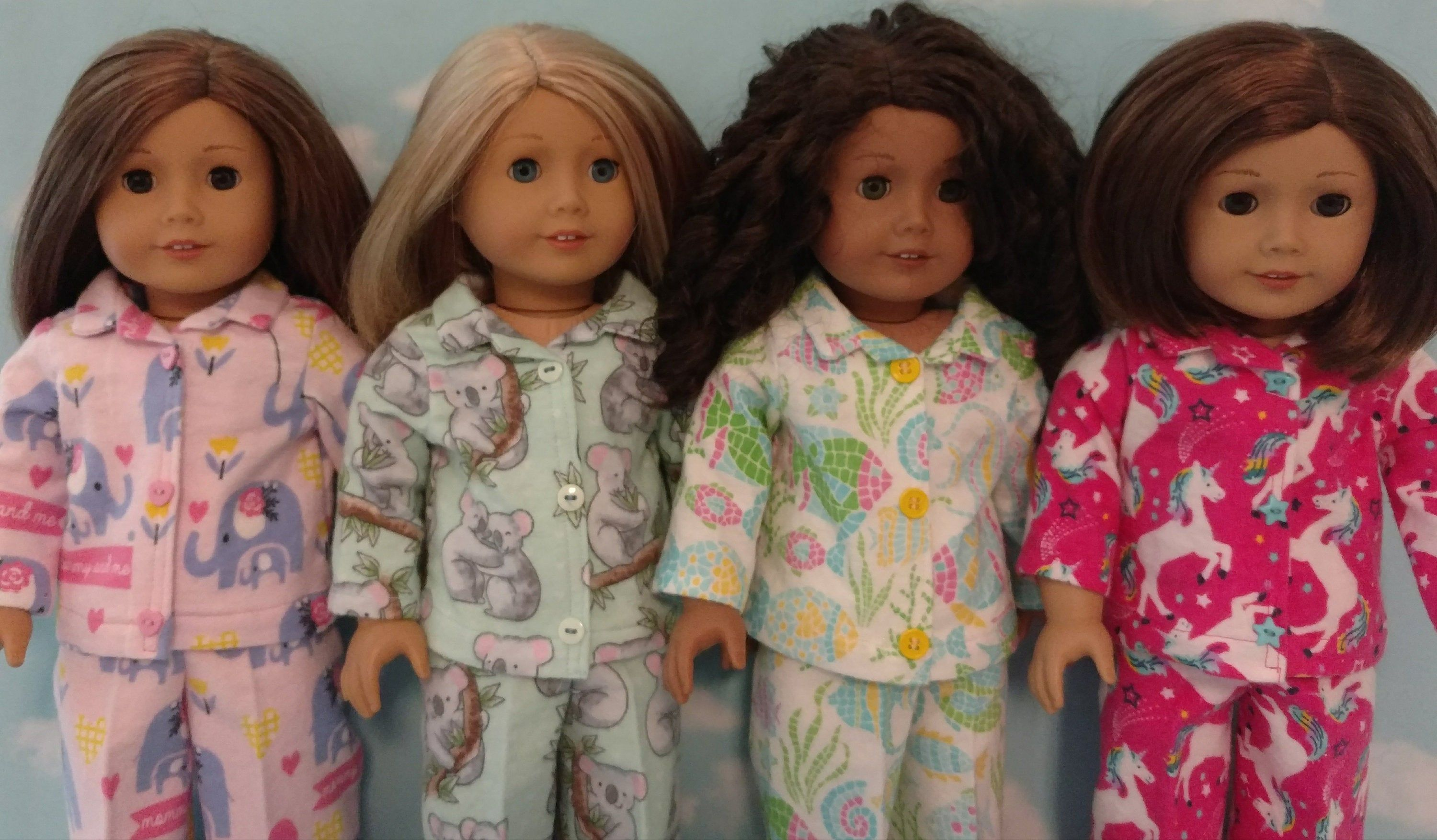 18 inch doll clothes, pajamas fits 18 American Girl Dolls 414abcd #18inchdollsandclothes