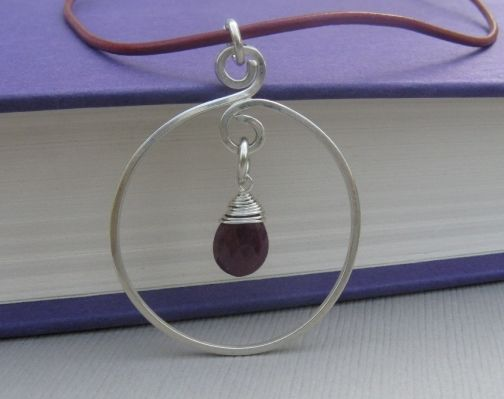 Ruby and Sterling Silver Necklace - Circle Necklace