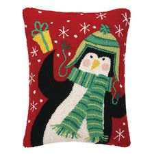 Penguin for You Hook Wool Throw Pillow