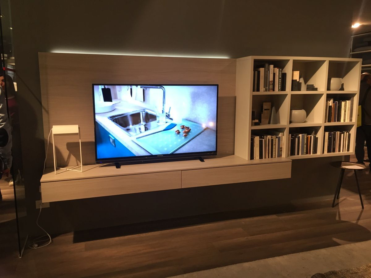 Storage wood floating media shelves design - Floating Media Console With Open Shelves