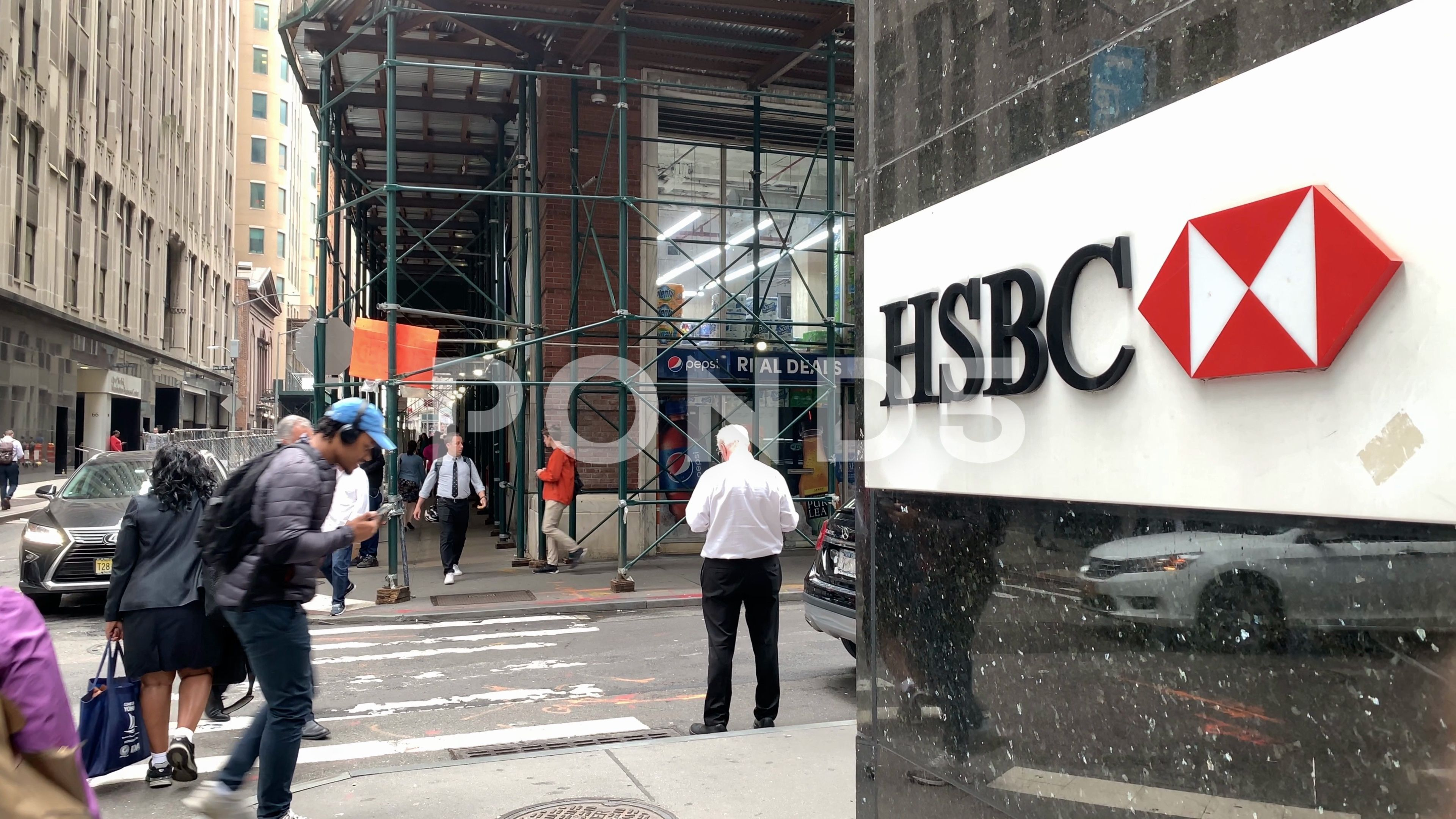 Hsbc Bank Sign Tilting Freedom Tower Financial District Manhattan