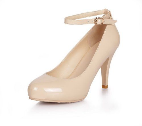304e94d9ad68 QueenFashion Women s Closed Round Toe High Heel Patent Leather PU Solid Mary  Jane Pumps whith Metal Buckles