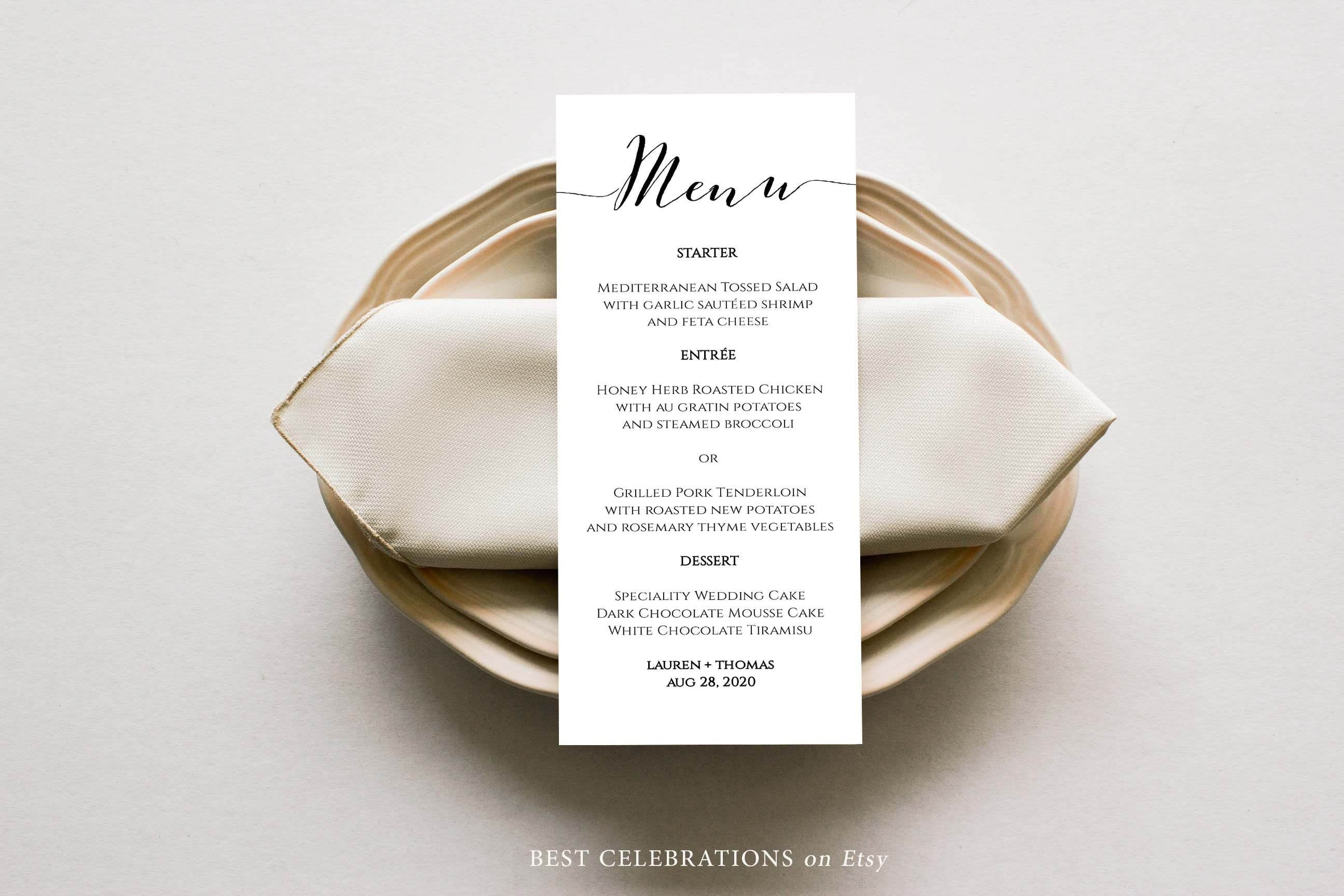 Modern Minimalist Wedding Menu Template, Let's Eat Minimalist Menu, Calligraphic Wedding Menu, Templett Wedding Menu card, #BW1