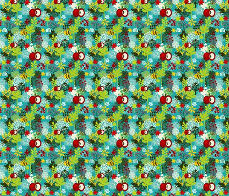 Bee and apple. fabric by panova on Spoonflower - custom fabric