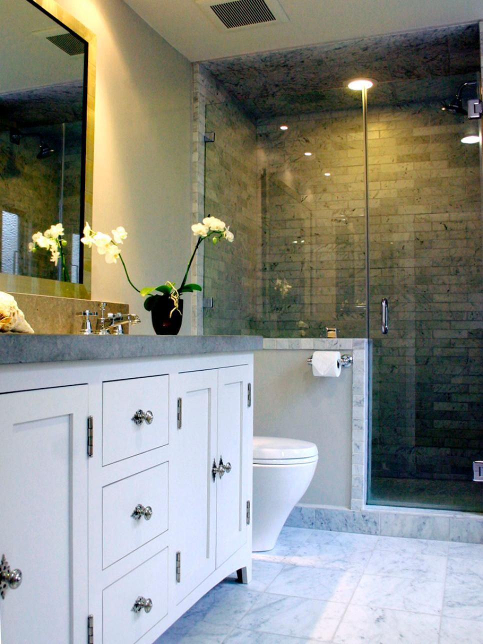 Three-Quarter Bathrooms | Carrara marble, Marble tiles and Carrara