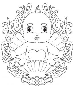 Baby Born In A Shell Coloring Page Baby Coloring Pages Giraffe Coloring Pages Horse Coloring Pages
