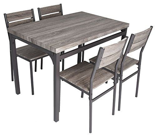 zenvida 5 piece dining set rustic grey wooden kitchen table and 4 rh pinterest com