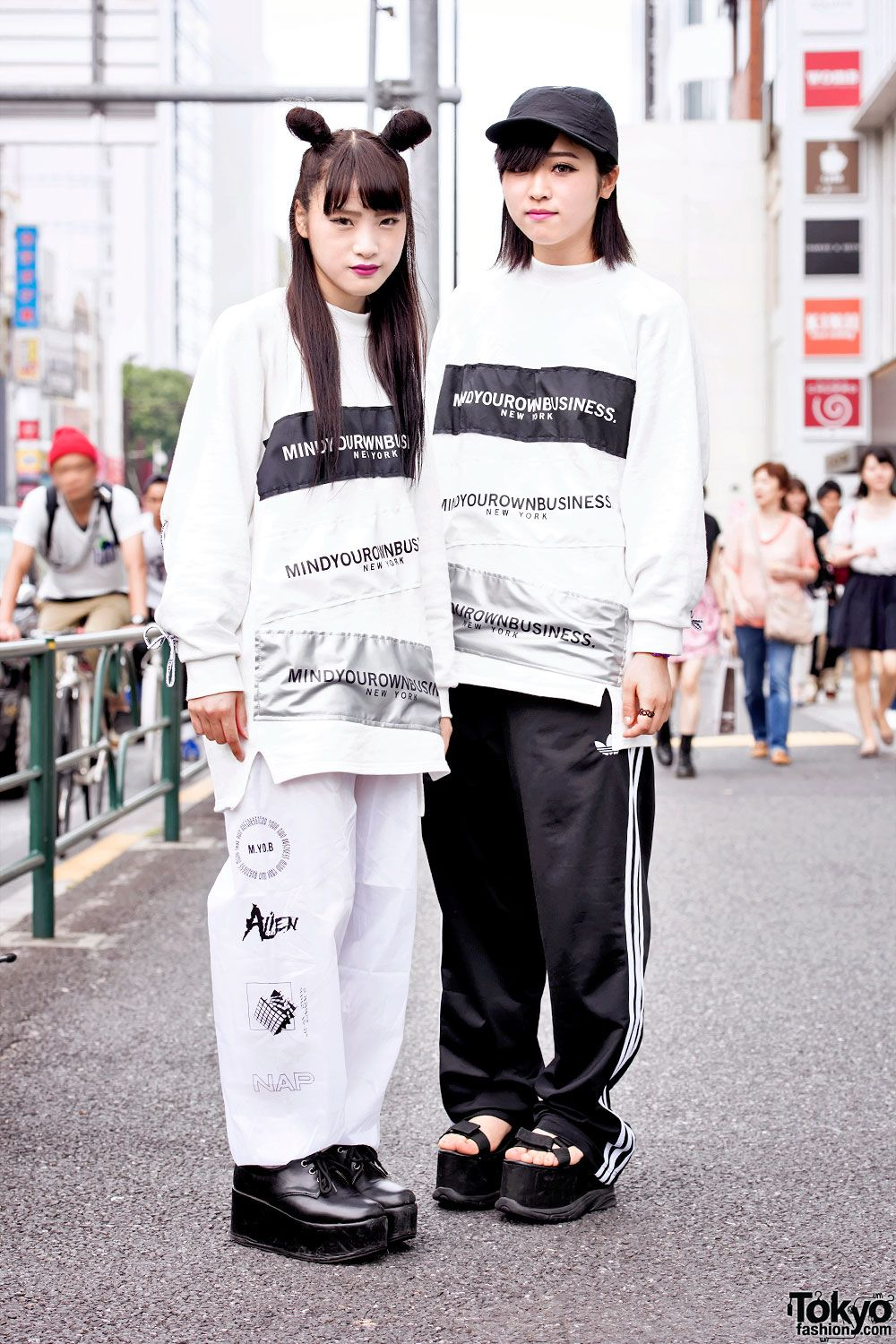 """""""pair look"""" (when friends dress in the same / similar outfits - it's very popular in Japan) ... Myu (left, 17 years old) & Ayana (right, 18 years old) - both students 