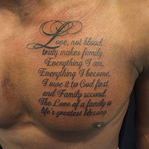 bab62f77c Meaningful Family Tattoo - Quote on Chest #Tattoosformen | Tattoos ...