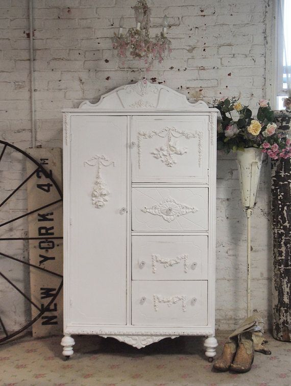Painted Cottage Chic Shabby White Vintage by paintedcottages, $525.00