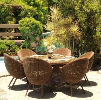 Ingarden Rattan Dining Set Weatherproof Wicker 1 5m Table 6 Modern Bucket Chairs Co Uk Garden Outdoors