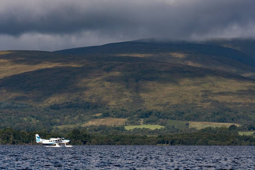 Moody morning takeoff for the Loch Lomond seaplane
