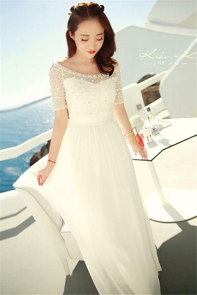Дамска бяла шифонена дълга лятна бохемска официална рокля