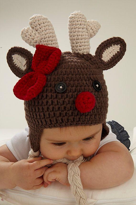 8424f712eb7bd Reno Navidad sombrero del ganchillo