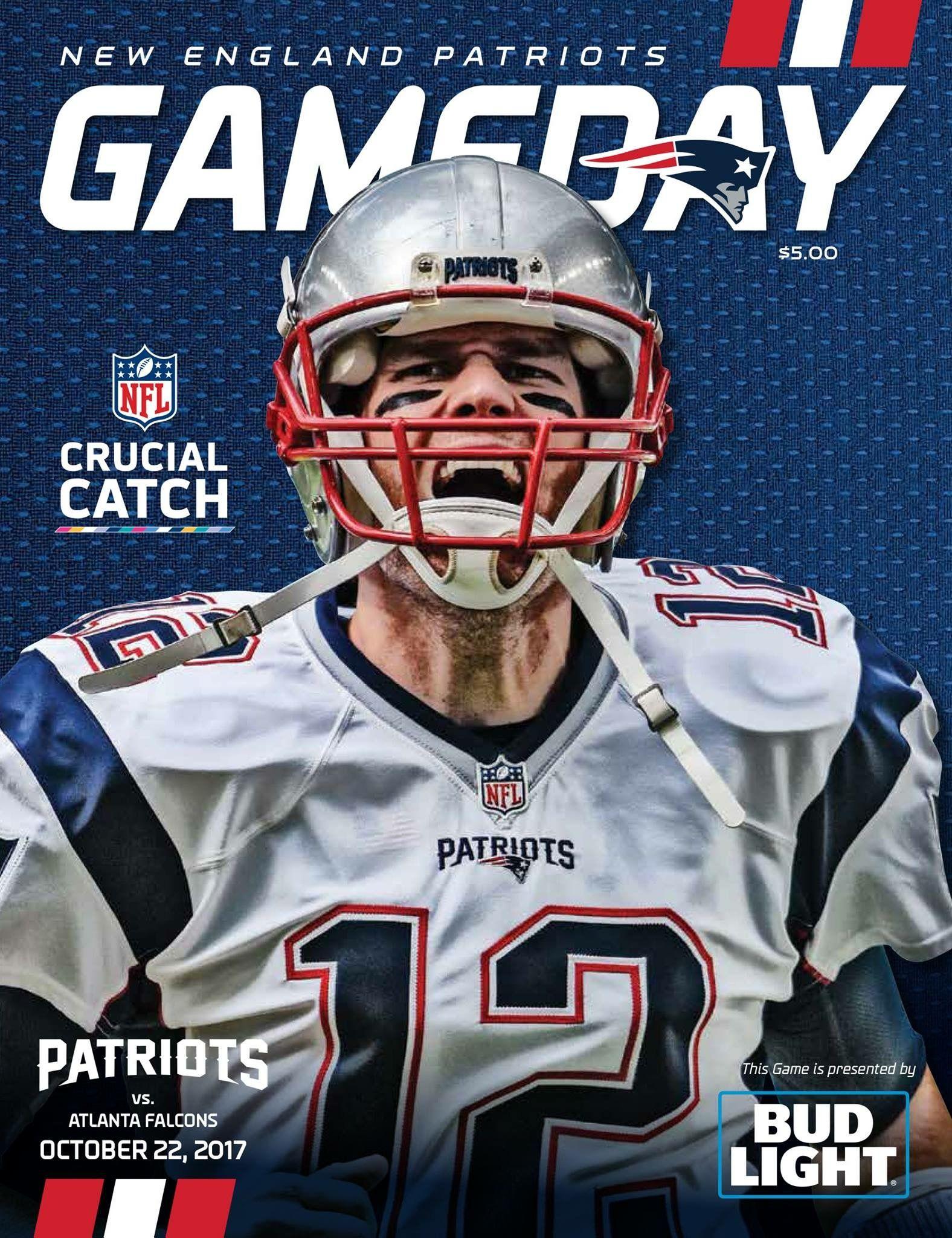 Gameday Program Cover Tb12 Goat Wk7 Atlvsne Letsgo Nfl Patriots Patriots Football Helmets