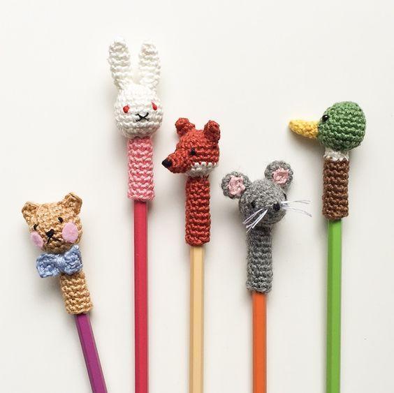 Süße Tierköpfe Für Stifte Selber Häkeln Waldorfpuppen Pinterest
