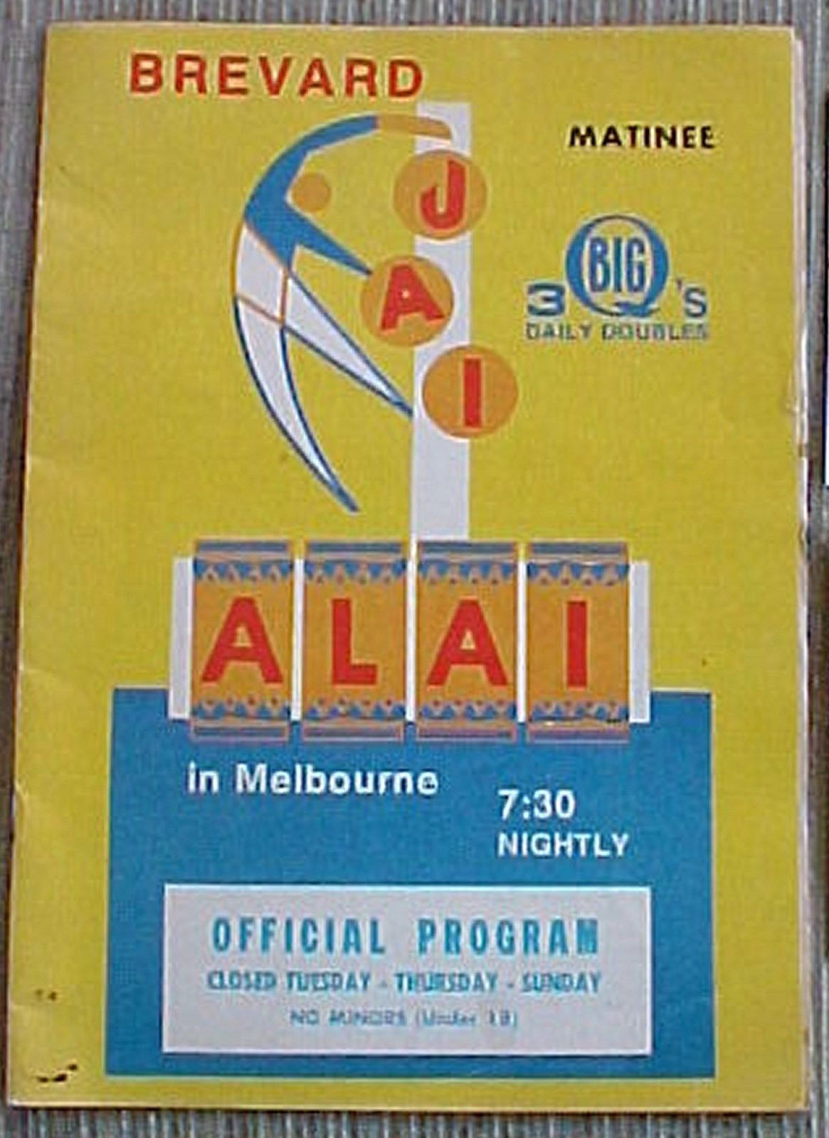 BREVARD JAI ALAI PROGRAM IN MELBOURNE FLORIDA 1974 eBay