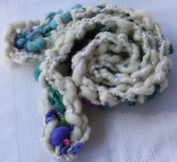 Hand Crocheted Aqua and White Scarf  with beads by bpenatzer, $63.00