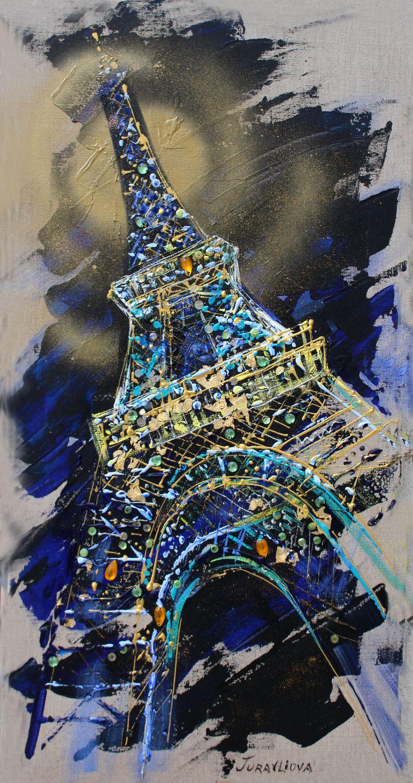 tableau peinture unique sur toile vague de l 39 artiste peintre et styliste parisienne juravliova. Black Bedroom Furniture Sets. Home Design Ideas