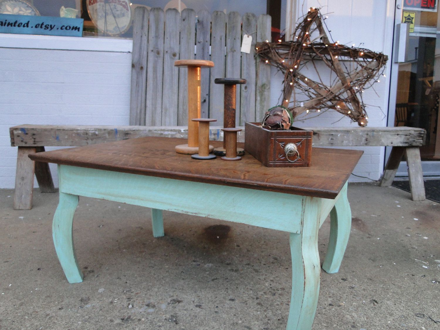 Vintage Wooden Oak Coffee Table In Distressed Seafoam Green Rustic Beach Cottage Shabby Chic Country