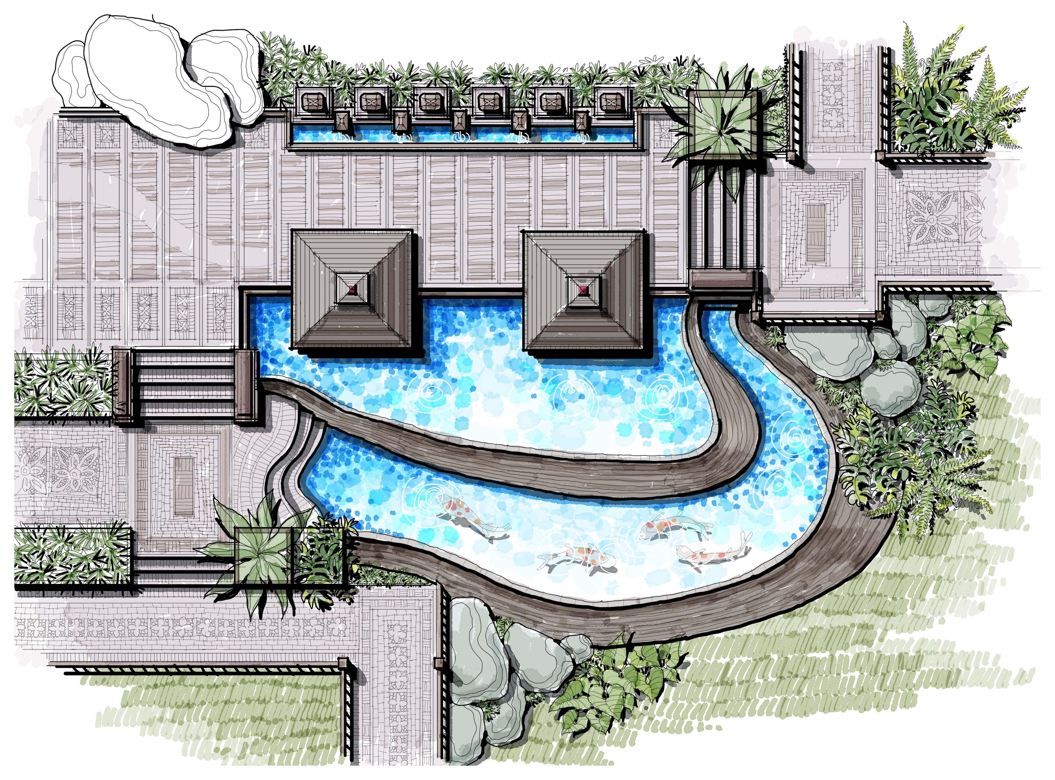 Infinity Pool Landscape Koi Pond Tropical Villa Master Plan Bali