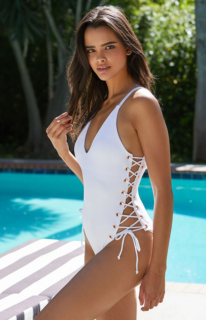 Ribbed Side Lace Up One Piece Swimsuit Swimsuits Swimsuits Hot One Piece